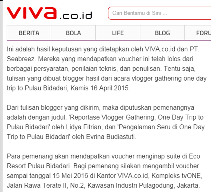 Lomba Blog Review Pulau Bidadari